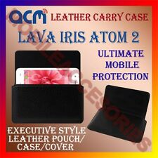 ACM-HORIZONTAL LEATHER CARRY CASE for LAVA IRIS ATOM 2 MOBILE POUCH COVER HOLDER