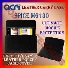 ACM-HORIZONTAL LEATHER CARRY CASE for SPICE M6130 MOBILE COVER HOLDER PROTECTION