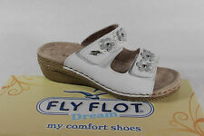 FLY FLOT DONNA Pantofole pelle bianca NUOVO chiusura a strappo