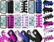 For Apple iPhone 5C Hybrid FISHBONE Rubber Case Phone Cover +Screen Protector
