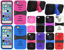For Apple iPhone 5C HYBRID Hard Gel Rubber KICKSTAND Case Cover +Screen Guard