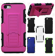For Apple iPhone 5C Armor HYBRID KICKSTAND Rubber Case Phone Cover Accessory
