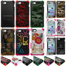 For Apple iPhone 5C Hybrid Tough Defender Hard Case Cover Kickstand W,