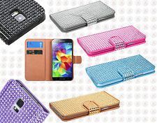 Samsung Galaxy S5 Premium Bling Diamond Wallet Case Pouch Cover + Screen Guard