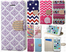 Apple iPhone 5 5S Premium Leather Wallet Pouch Flip Cover + Screen Protector
