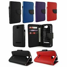 For BLU Dash 4.5 D310A Premium Leather Wallet Case Cover w, Card Holde