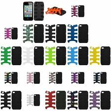 Color Silicone Rubber Hybrid Hard Fishbone Case Skin Cover For iPhone 4 4S 4G
