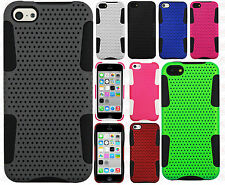 For Apple iPhone 5C MESH Hybrid Silicone Rubber Skin Case Cover +Screen Guard