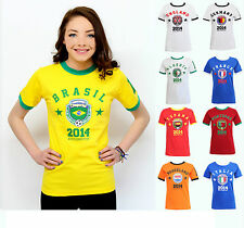 WOMENS LADIES FOOTBALL RETRO WORLD CUP 2014 ENGLAND BRAZIL T-SHIRT TOP SIZE 8-14