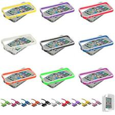For iPhone 4S 4 TPU Frame Bumper Case Cover Metal Buttons+USB Sync Cab