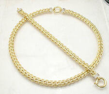 Diamond Accent Wheat Spiga Bracelet Chain Necklace Set Real 14K Yellow Gold