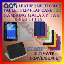 ACM-LEATHER FLIP MULTI-COLOR COVER CASE STAND for SAMSUNG GALAXY TAB 3 NEO T111N