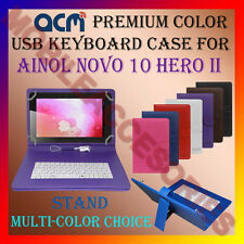 "ACM-USB COLOR KEYBOARD 10"" CASE for AINOL NOVO 10 HERO II LEATHER COVER STAND"