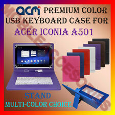 """ACM-USB COLOR KEYBOARD 10"""" CASE for ACER ICONIA A501 LEATHER COVER STAND TABLET"""