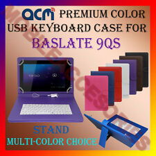 """ACM-USB COLOR KEYBOARD 10"""" CASE for BASLATE 9QS TABLET LEATHER COVER STAND CARRY"""