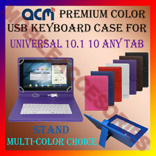 """ACM-USB COLOR KEYBOARD 10"""" CASE for UNIVERSAL 10.1"""" 10"""" ANY TAB COVER STAND"""