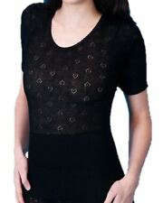 Ladies Thermal Lace Spencer Long And Short Sleeve Vests Long Johns Black