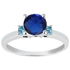 1.30 Ct Round Blue Created Sapphire Swiss Blue Topaz 925 Sterling Silver Ring
