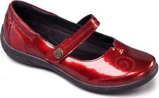 Padders LYRIC Ladies Extra/Super Wide Touch Fasten Patent Mary Jane Shoes Red