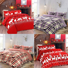 Christmas Duvet Cover Pillowcase Set Santa Reindeer Snow Xmas Free UK Post
