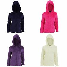 Womens/Ladies Soft Fleece Hooded Full Zip Pyjama Snuggle Top S M L XL