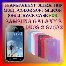 ACM-TRANSPARENT THIN COLOR SILICON of SAMSUNG S DUOS 2 S7582 BACK COVER CASE NEW
