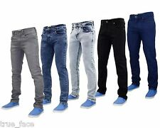 Neuf True face Homme Coupe Slim jeans Extensible Basique 5 Poches Occidental