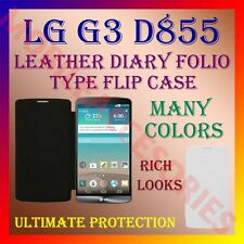 ACM-LEATHER DIARY FOLIO FLIP COVER for LG G3 D855 MOBILE FRONT & BACK CASE NEW