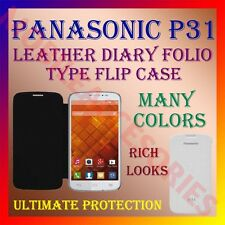 ACM-LEATHER DIARY FOLIO FLIP CASE for PANASONIC P31 MOBILE FRONT & BACK COVER