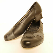 Equity Martha Leather  Court Shoe Black Pewter Graphite EE Fitting RRP £64.99