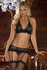 Sexy Womens Lace Lingerie Underwear set Bra G-String Garters hot Gift M #001