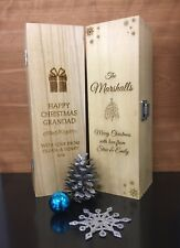 Personalised Wooden Wine Champagne Boxes Christmas Design free engraving 3 sizes