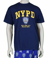 NYPD Short Sleeve Front Yellow Print T-Shirt Navy New York City Police PDNY Tee