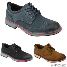 Mens New Black Blue Tan Faux Suede Leather Lace up Brogue Smart Casual Shoes
