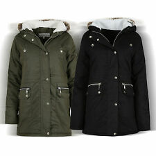 NEW WOMENS LADIES PARKA HOODED FAUX FUR JACKET WINTER MILITARY COAT JACKET 10-30