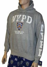 NYPD Hoodie White Sleeve Print Sweatshirt Gray New York City Police Shirt Mens