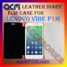 ACM-LEATHER DIARY FOLIO FLIP FLAP CASE for LENOVO VIBE P1M FRONT/BACK COVER NEW