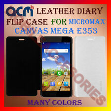 ACM-LEATHER DIARY FOLIO FLIP FLAP CASE for MICROMAX CANVAS MEGA E353 COVER NEW