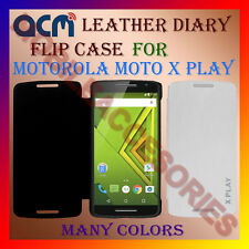 ACM-LEATHER DIARY FOLIO FLIP FLAP CASE for MOTOROLA MOTO X PLAY FLIP COVER NEW