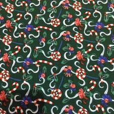 """Holly & Bows Green CHRISTMAS Printed 100% Cotton Fabric 54"""" wide sold by the met"""