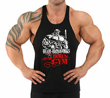 BLACK BORN IN THE GYM T-BACK BODYBUILDING VEST WORKOUT GYM CLOTHING H-100