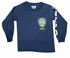NYPD Kids Long Sleeve Screen Print Chest Badge T-Shirt Navy Tee Police Boys NWT