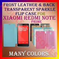 ACM-FRONT LEATHER & BACK TRANSPARENT SPARKLE CASE of XIAOMI REDMI NOTE PRIME NEW