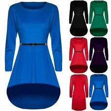Womens Ladies Flared Long Sleeve Dipped Hem High Low Mini Skater Dress Plus Size