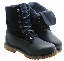 Timberland Authentics Suede Roll Top Womens Boots Roll Down Navy Blue 8305A D30