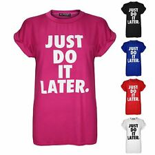 Womens Ladies Just Do It Later USA Varsity Baggy Oversize Cap Sleeve T Shirt Top