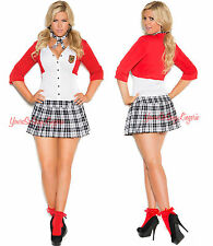 PLUS SIZE Sexy SCHOOL GIRL COSTUME UNIFORM Mini Dress Tartan Plaid Crop Sweater