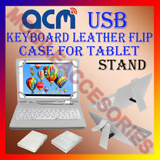 "ACM-USB KEYBOARD WHITE 7"" CASE for ANY ALL 7"" UNIVERSAL TAB LEATHER COVER STAND"