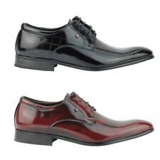 New Mens Faux Patent Leather Black Maroon Casual Smart Derby Formal Shoes Size
