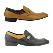 New Mens Faux Leather Tan Black Smart Casual Slip on Loafer Shoes UK Size 6 - 11